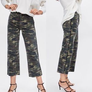 Zara Camouflage Cropped Culotte Pants